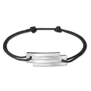 Bracelet cordon argent 925 rhodié Ursul - Heureux comme un Prince