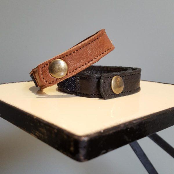 Bracelet cuir et denim Hacter - Heureux comme un Prince