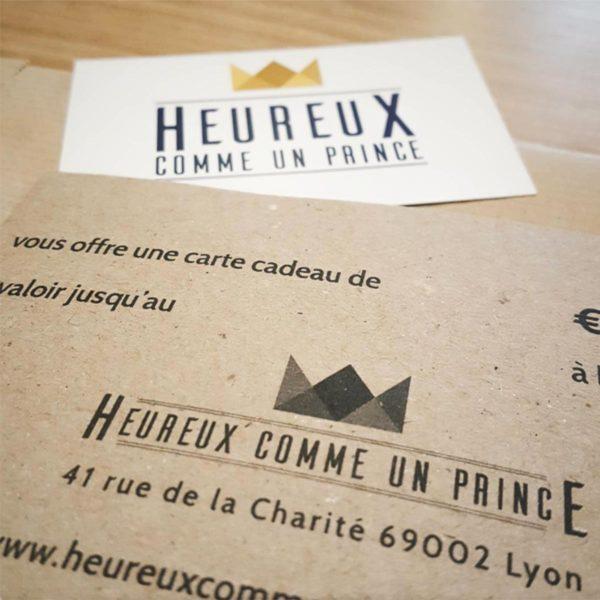 Carte cadeau Heureux comme un Prince, de 30 à 250€