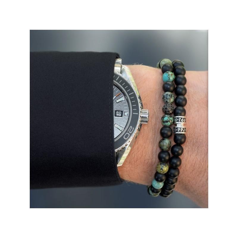 Bracelet onyx mat et turquoise - Pierre Paul Jacques & Heureux comme un Prince