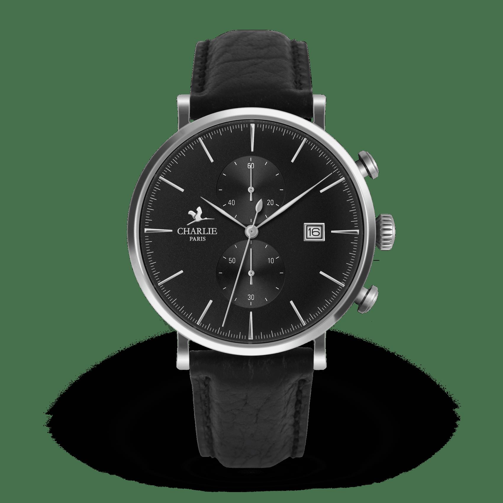 Montre chronomètre noir - Charlie Paris & Heureux comme un Prince
