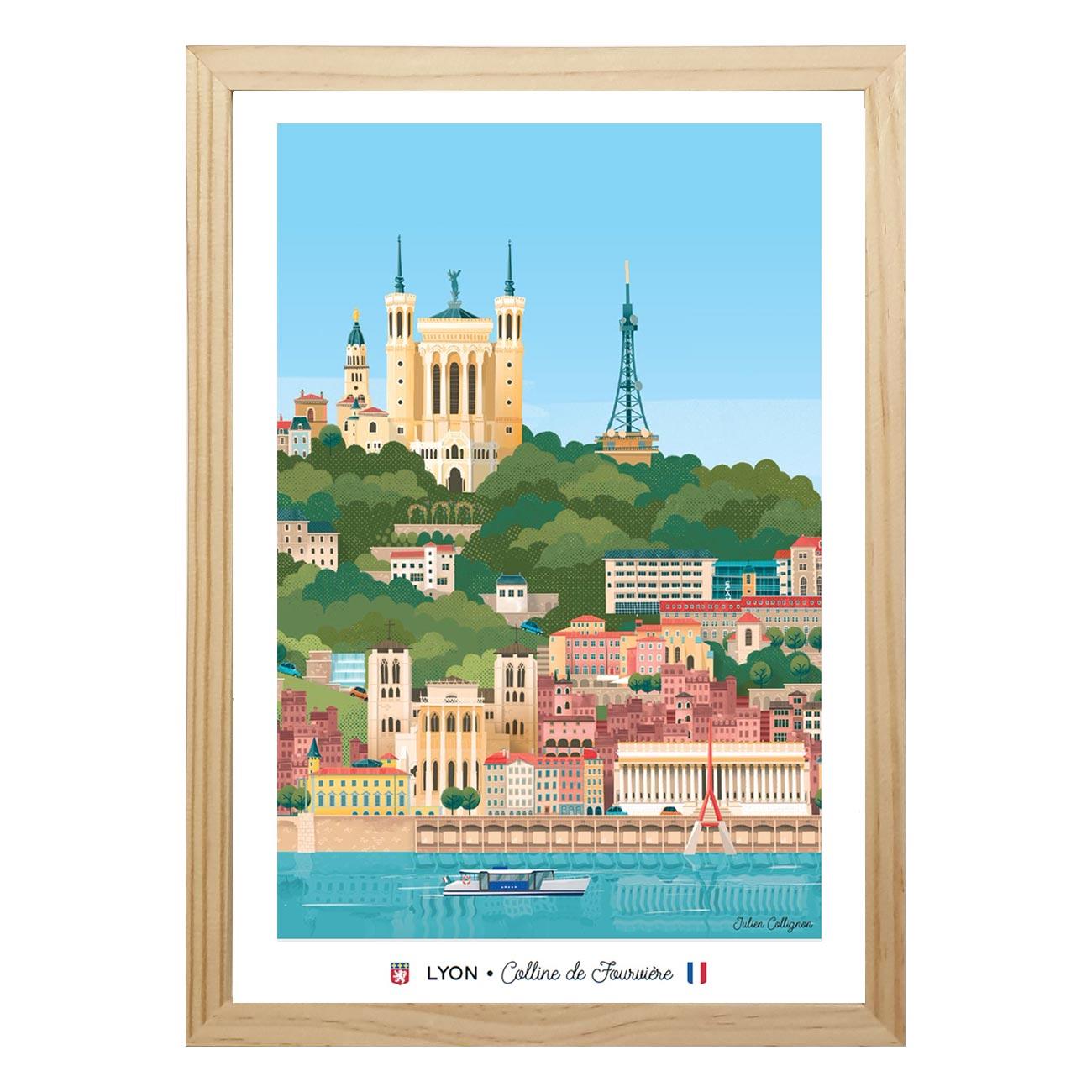 Affiche A4 portrait Lyon Fourvière - Les éditions du Lyonnais & Heureux comme un Prince