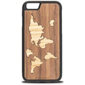 Coque iPhone Map monde - Coque en bois & Heureux comme un Prince