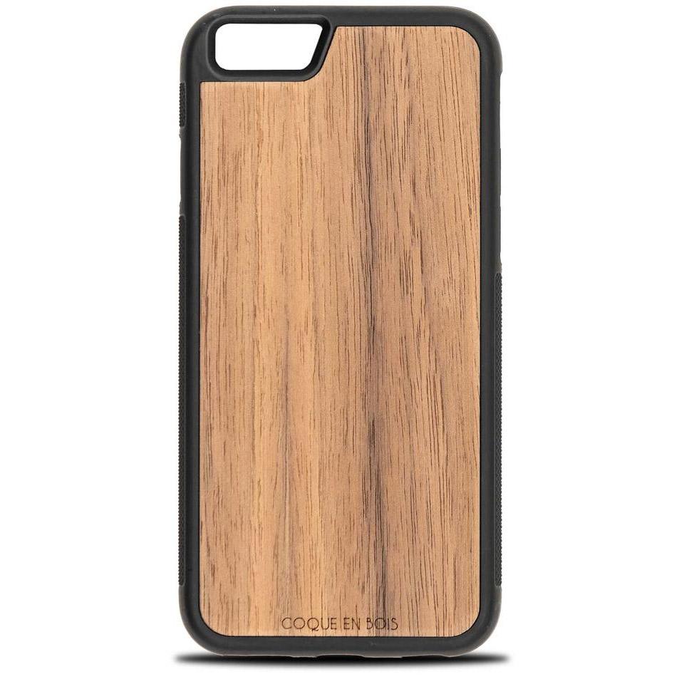 Coque iPhone en noyer - Coque en bois & Heureux comme un Prince