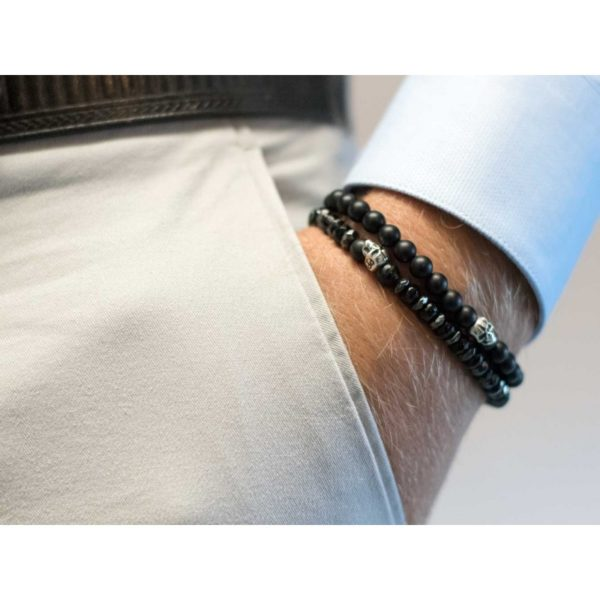 Bracelet onyx mat 6mm & skull - Pierre Paul Jacques & Heureux comme un Prince