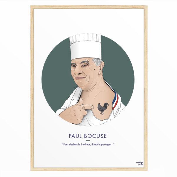Affiche Paul Bocuse 30x40 - ASAP & Heureux comme un Prince