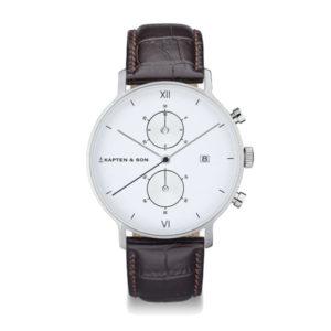 Montre chrono Silver White Leather - Kapten & Son & Heureux comme un Prince