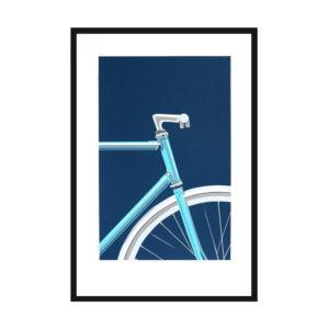 Affiche sérigraphie vélo bleu - Loriane Bouhier Heureux comme un Prince