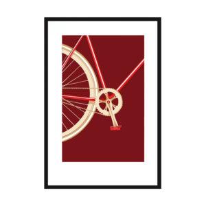 Affiche sérigraphie vélo rouge - Loriane Bouhier Heureux comme un Prince