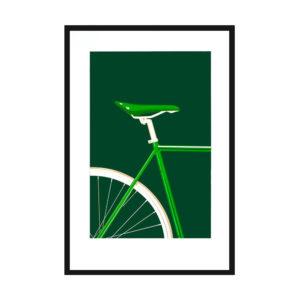 Affiche sérigraphie vélo vert- Loriane Bouhier Heureux comme un Prince