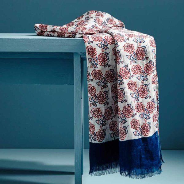 Chèche en lin motif floral Pampelonne - AV08 Paris & Heureux comme un Prince