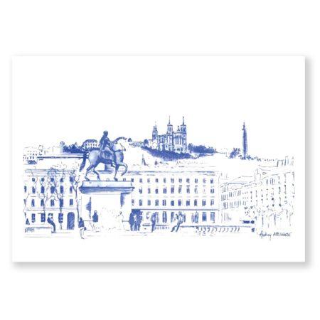 Illustration Lyon Place Bellecour Dessin de Ville Heureux comme un Prince