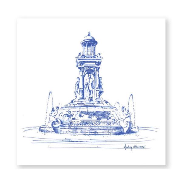 Illustration Place des Jacobins Lyon - Dessin de Villes Heureux comme un Prince