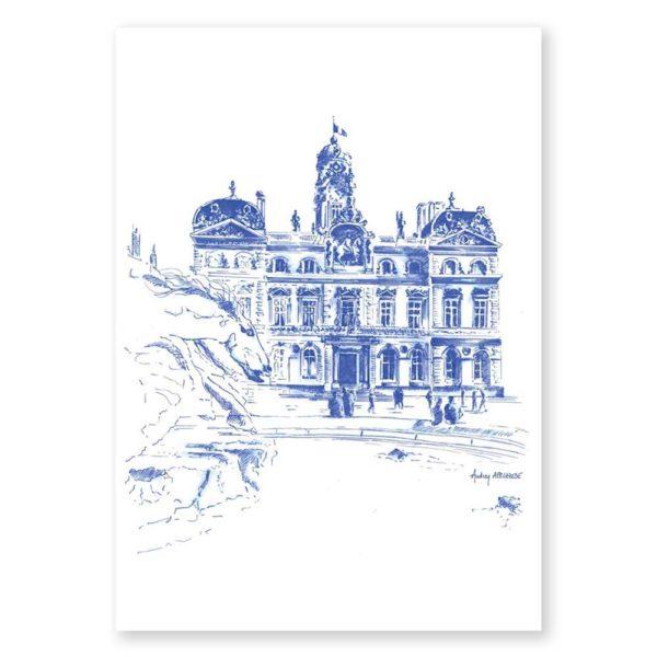 Place des Terreaux Hôtel de Ville - Dessin de Ville & Heureux comme un Prince
