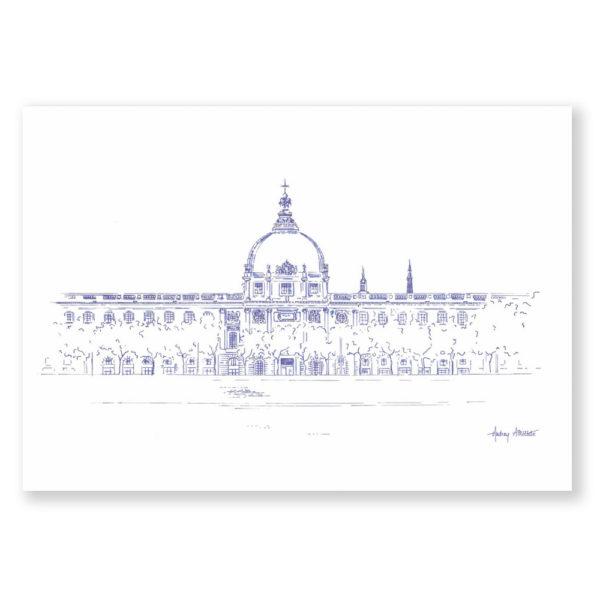 illustration Lyon Grand Hôtel Dieu Dessin de Ville Heureux comme un Prince