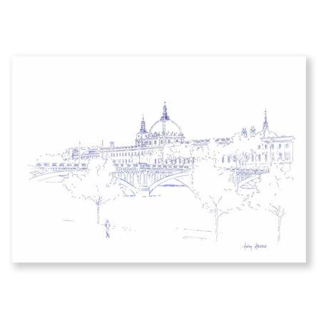 illustration Lyon Grand Hôtel Dieu Vue Pont Wilson Dessin de Ville & Heureux comme un Prince