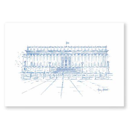 illustration Lyon Palais de justice 24 colonnes - Dessin de Lyon & Heureux comme un Prince